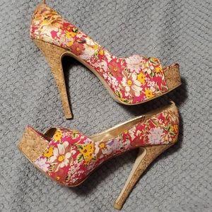 Floral peep toe high heels